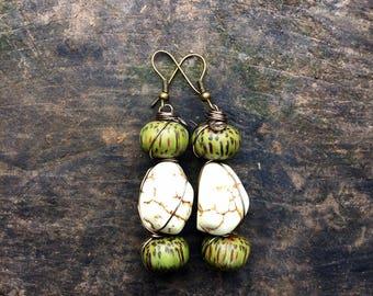 Tribal earrings, ethnic earrings, gemstone earrings, earth earrings, bohemian jewellery, gift for her