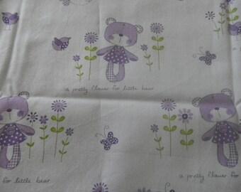 "fabric ""little bear"" on purple background"