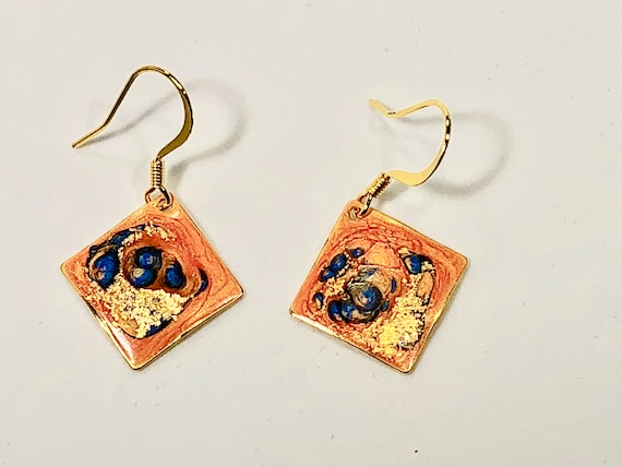 Handmade small diamond shape orange blue gold enamel gold filled earrings with abstract designs