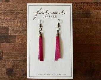 Simple Leather Earrings in Raspberry