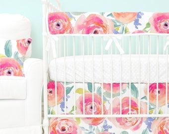 Bright Summer Watercolor Blooms Bumperless Baby Bedding | Pink, Watercolor Floral, Teething Guard Girl Crib Set | Watercolor Floral Nursery
