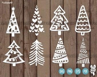 Christmas tree svg Bundle SET 3 | 8 svg cut files | Christmas tree cut file svg | New Year svg | Silhouette | vinyl decal Winter | Cricut