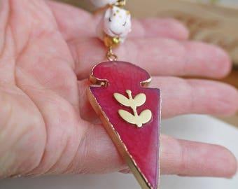 collier sautoir Hubert mon hamster et son pendentif energène tranche de quartz rose