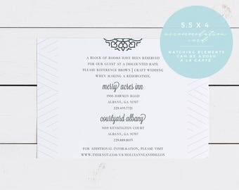 Monogram Wedding Accommodation Insert Card, Printed OR Printable 5.5X4 Wedding Accommodation Card, Always Elegant