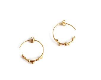 Gold Hoop Earrings, Gold Hoops, Hoop Earrings, Nature Earrings, Gold Earrings, Gift For Her, Woodland Earrings, Everyday Jewelry.