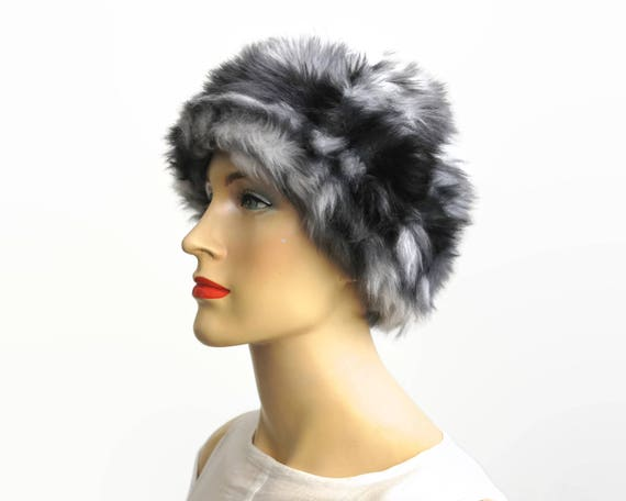 Mid 20th century black and white faux fur hat, fully lined, made in England, small size, winter accessory, circa 1960s