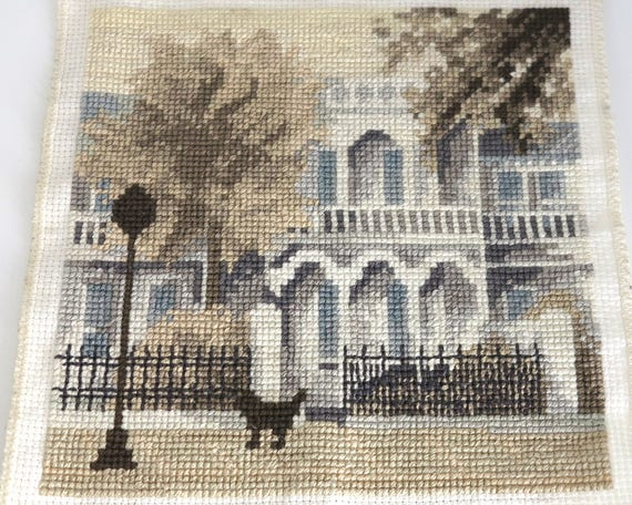 Small hand embroidered square panel of terrace houses with dog and lamp post, continental stitch, 6 inches / 15cms square, quilting square