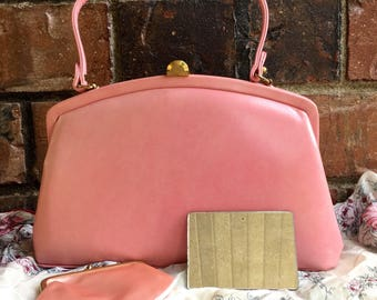 Adorable 1950's Nicholas Reich Bubble Gum Pink Purse with Matching Coin Purse and Compact Mirror
