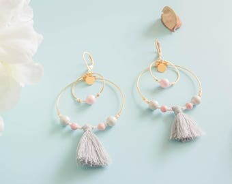 "Earrings ""Melina"" brass & glass beads"