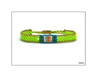 Macrame Band Bracelet - Neon Green and Gold / BBAE03