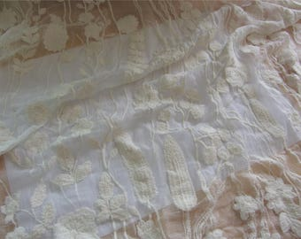 Ivory silk lace,forest  Embroidery silk fabric,crinkle silk chiffon lace fabric in Ivory white,wedding dress fabric-ZSME0016