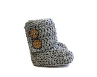 "Crochet Baby Booties/Crochet booties Light Grey/Baby ""Ugg"" Style Boots/Gender Neutral/MADE TO ORDER/Handmade Baby Shower Gift/Photo Props"
