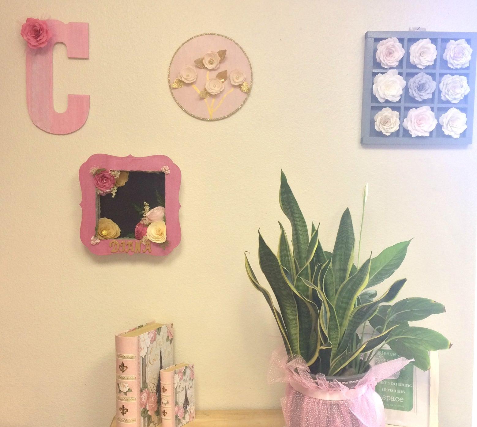 3D Flower wall art, Paper rose floral wall decor, Kids room decor ...