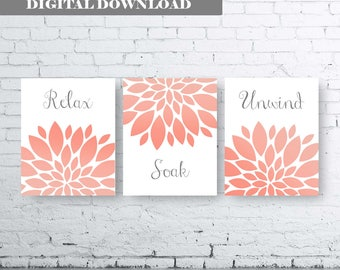 Bathroom Print Art-Relax Soak Unwind- Gray Coral Art- Gray Coral Flower Bathroom. Gray and Coral Floral Wall Art. Gray Coral Bathroom Decor
