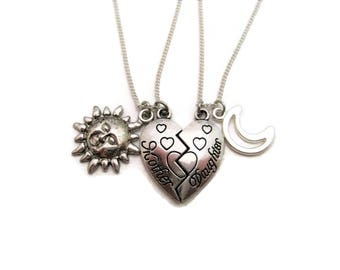 Mother Daughter Necklace Set Sun  Moon Necklace Half Heart Necklace Split Heart Necklace Set Mother Daughter Necklace Mother Daughter Gifts