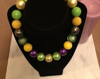 Handmade Mardi Gras necklace
