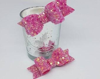 Pink glitter hair clips set of glitter Hair Clips pink hair bows pink hair clips Toddlers clips Baby Girl Hair Clips bright pink hair bow