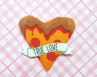 """Femme Foodie Collection """"Pizza's True Love"""" Junk Food Pizza Lover Brooch Pin Galentines"""