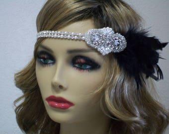 Gatsby headband, Flapper headpiece, 1920s headband, 1920s dress, Rhinestone Pearl headband, 1920s accessories, Roaring 20s dress, Jazz Age