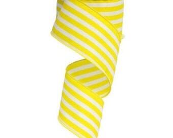 """2.5"""" Vertical Striped Ribbon: Yellow/White"""