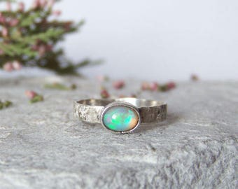 Custom Opal Sterling Silver Ring, Minimalist Ring, Opal Ring, Hammered Silver Ring, October Birthstone, FOR ORDER