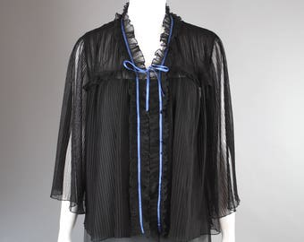 1980s Zandra Rhodes Duster Jacket Sheer black crystal pleat flutter sleeve shawl M