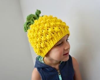 Pineapple hat, knit hat, pineapple, crochet pineapple hat, crochet pineapple, fun hat, cute crochet hat, child hat, novelty hat, pinapple
