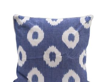 Blue and white circle cushion cover 45cm x 45cm