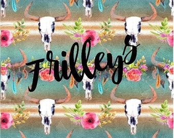 Cow Skull, Boho, Cactus Flowers, Craft vinyl HTV or Adhesive vinyl