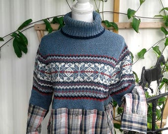 Lagenlook,upcycled,sweater,top,boho,boot,socks,large,xl,fall,winter,turtle,neck,christmas,flannel