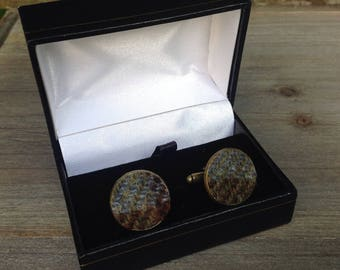 Tweed cuff links in hunting MacLeod tweed groomsmen best man wedding fathers day gift birthday