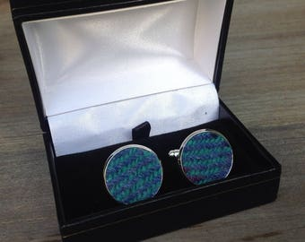 Tweed cuff links in turquoise and purple mixed tweed groomsmen wedding best man fathers day birthday gift