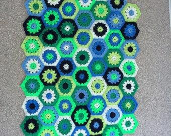 Crochet Oval Floor Mat Blue/Green