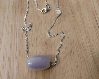 Jadeite lavender bead pendant Natural grade A 925 Sterling silver 16 inch chain