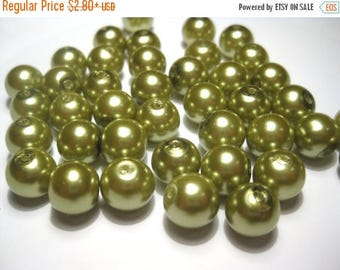 50% OFF Clearance Sale-- Olive Green Glass Pearl Beads 6mm Round