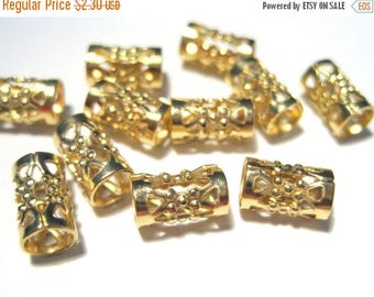 50% OFF Clearance Sale-- 14pcs Raw Brass Filigree Tube Spacer Beads 8mm