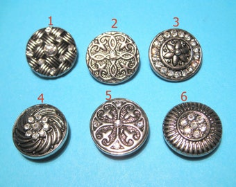 Silver Tone Round Snap Buttons Charms With Rhinestones Knob Size 5~5.5mm (No.24)