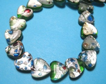 1 Strand Handmade Green Heart Lamp work Glass Beads 12x6mm