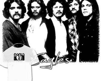 40% OFF Sale Eagles Band Drawing T shirt Glenn Frey Don Henley Joe Walsh Timothy B. Schmit