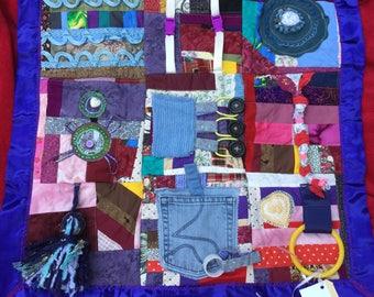 Fidget Quilt/Sensory Blanket- This n That Blue