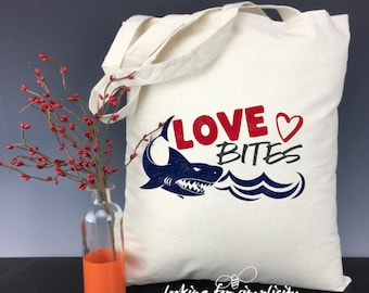 Love Bites with a Shark  Light Weight Tote Bag