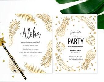Printable Aloha Invitation Templates // Tropical Luau Invitation // DIY Hawaiian Party Invitation // Editable Summer Party Invite