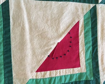 Primitive Tea Stained Watermelon Hanger or Table Cover