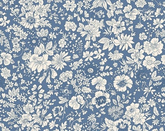 Fabric -Liberty  - The English Garden - Emily silhouette, blue - Quilters weight cotton