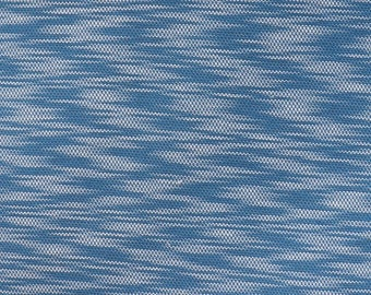 Fabric - Cotton/polyester textured light/medium jersey fabric -  blue - knit