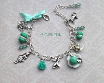 """charm bracelet """"Alice in Wonderland in"""" Mint"""