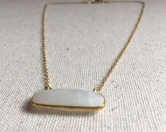 Moonstone bar pendant gold necklace