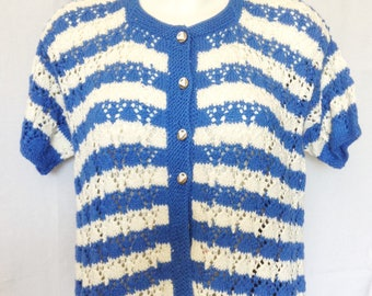 Cardigan / vest / jacket, handmade, blue and white T FR 42 / 44, USA 32 / 34, UK 14 / 16.