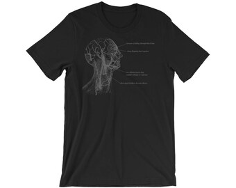 nu goth, goth clothing, gothic shirt, poetry shirt, poetry art, grays anatomy shirt, anatomical : i dream of falling through black hair