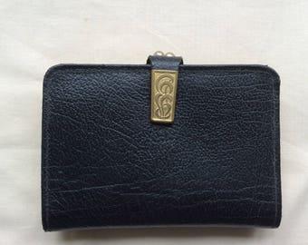 Vintage ladies leather wallet purse , black wallet, black purse, 70s.